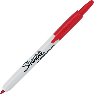 Sharpie® Retractable Fine Point  Permanent Markers, Red, Dozen