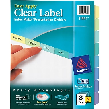 Avery® Index Maker Clear Label Tab Dividers, 8-Tab, Pastel Colors, 5 Sets/Pack