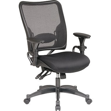 Office Star Space Seating Ergonomic AirGrid Mesh Conference Chair, Adjustable Arms, Black