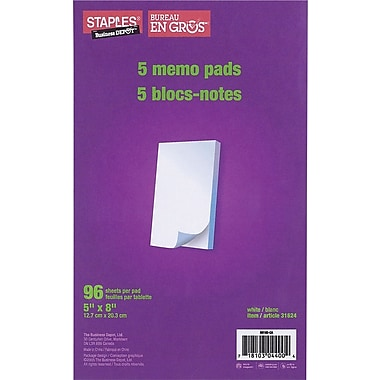 Staples® Memo Pads, 96 Sheets