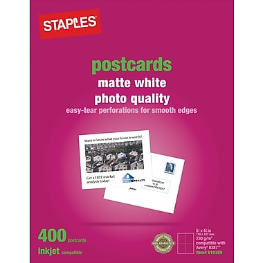 Staples® Inkjet Postcards, 5 1/2in. x 4 1/4in., Matte, 400/Pack