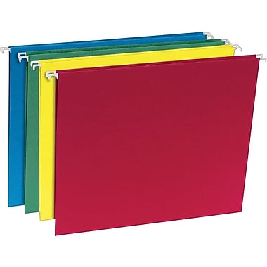 Staples® 100% Recycled Hanging File Folders, Legal, 5 Tab, Assorted Colors, 20/Box