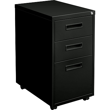 basyx™ Vertical Mobile File Cabinet, 22in. 3-Drawer, Letter Size, Black
