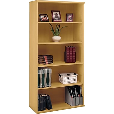 Bush Westfield 5-Shelf Bookcase, Light Oak, Fully assembled
