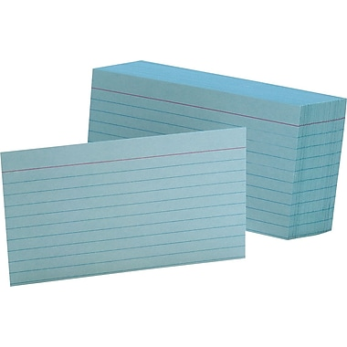 Oxford® 3in. x 5in. Line Ruled Blue Index Cards, 100/Pack