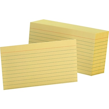 Oxford® 3in. x 5in. Line Ruled Canary Index Cards, 100/Pack