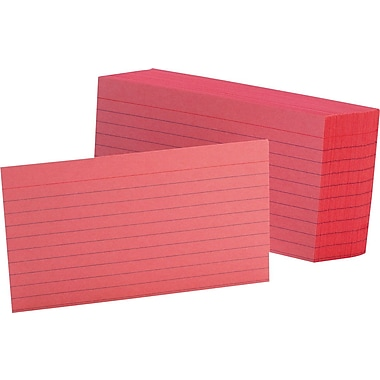 Oxford® 3in. x 5in. Line Ruled Cherry Index Cards, 100/Pack