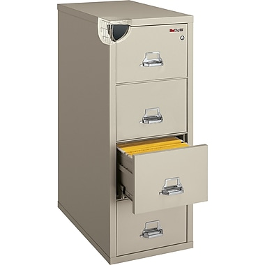 FireKing 1-Hour 4-Drawer 31in. Letter Fire Resistant Vertical Cabinet, Parchment, Inside Delivery
