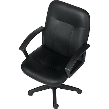 Staples® Mid-Back Leather Executive Chair, Black