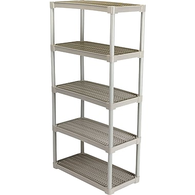 Contico Plastic Shelving, 5 Shelves, Beige, 72in.H x 36in.W x 18in.D
