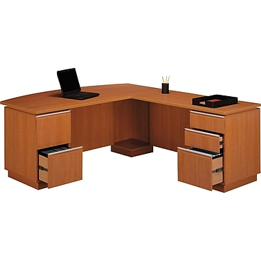 Bush Milano2 72in.W RH Double Pedestal L-Desk (F/F, B/B/F), Golden Anigre
