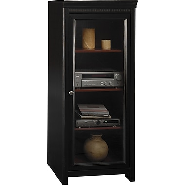 Bush Stanford Audio Cabinet, Antique Black/Hansen Cherry