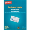 Staples® Inkjet Business Cards, 2in. x 3 1/2in., Matte, White, 250/Cards