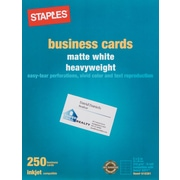 Staples® Inkjet Business Cards, 2 x 3 1/2, Matte, White, 250/Cards