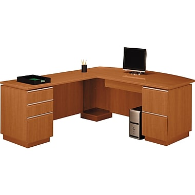 Bush Milano2 72in.W LH Double Pedestal L-Desk (F/F, B/B/F), Golden Anigre