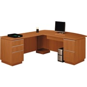 Bush Milano2 72W LH Double Pedestal L-Desk (F/F, B/B/F), Golden Anigre, Fully Assembled
