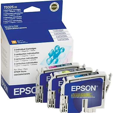 Epson T0325 Color Ink Cartridges (T032520), 3/Pack