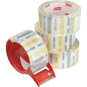 Staples® Quick Start Heavy-Duty Packaging Tape, Clear, 4 Rolls, w/ Dispenser