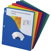 Oxford Wave Pocket Project Folders, 3-Hole Punched, Assorted, 10/Pack