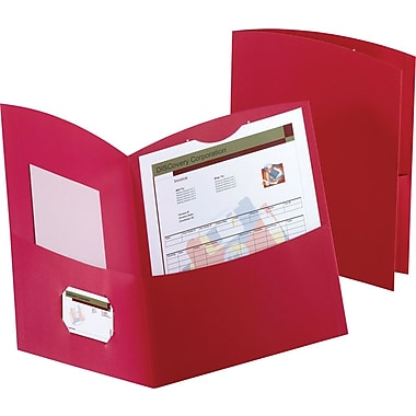 Oxford Contour 2-Pocket Folders, Red, 25/Box