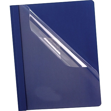 Oxford® Premium Clear Front Report Covers, Letter Size, Dark Blue, 25 per pack