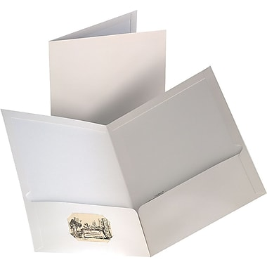 Staples 2-Pocket Laminated Folders, White, 10/Pack
