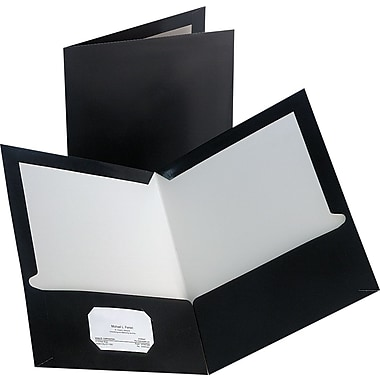 Staples 2-Pocket Laminated Folders, Black, 10/Pack