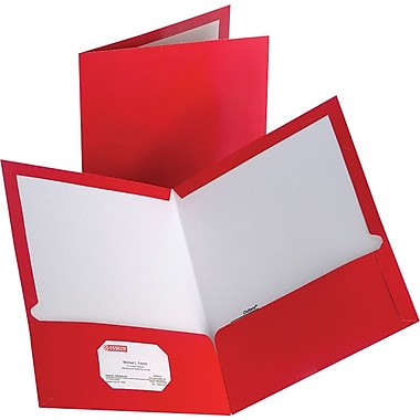 Staples 2-Pocket Laminated Folders, Red, 10/Pack