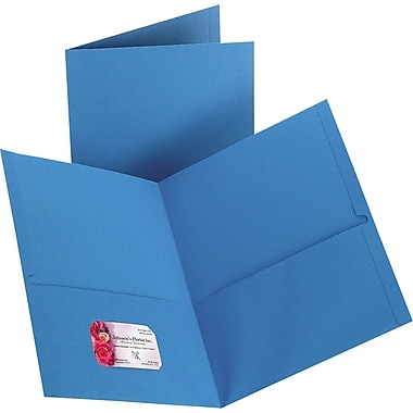 Staples 2-Pocket Folder, Light Blue, 10/PK (13381-CC)