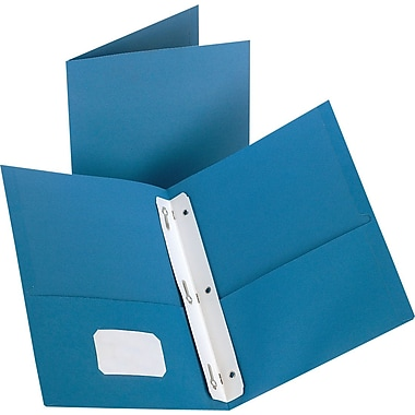 Staples® 2-Pocket Folder with Fasteners, Light Blue
