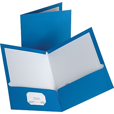 Staples 2-Pocket Laminated Folders, Light Blue, 10/Pack