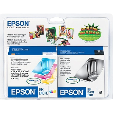 Epson T0601 Black and Color Ink Cartridges (T060120-BCD), Combo 4/Pack