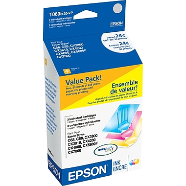 Epson T060 Color Ink Cartridges (T060520-VP), 3/Pack with Photo Paper