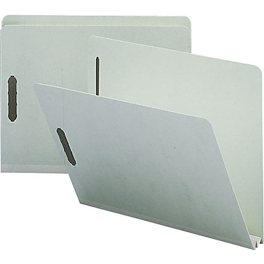 Staples® Gray/Green Pressboard Fastener Folders, Letter, Single Tab, 2