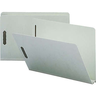 Staples® Gray/Green Pressboard Fastener Folders, Legal, Single Tab, 2
