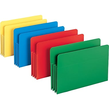 Smead® Poly Expanding File Pockets, Legal, 3 1/2in. Expansion, Assorted, 4/Pack