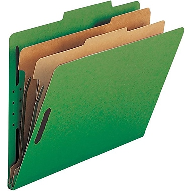 Smead® Colored Pressboard Classification Folders, Letter, 2 Partitions, Green, 10/Box