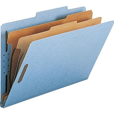 Smead® Colored Pressboard Classification Folders, Legal, 2 Partitions, Blue, 10/Box