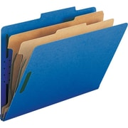 Smead® Colored Pressboard Classification Folders, Legal, 2 Partitions, Dark Blue, 10/Box