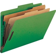Smead® Colored Pressboard Classification Folders, Legal, 2 Partitions, Green, 10/Box
