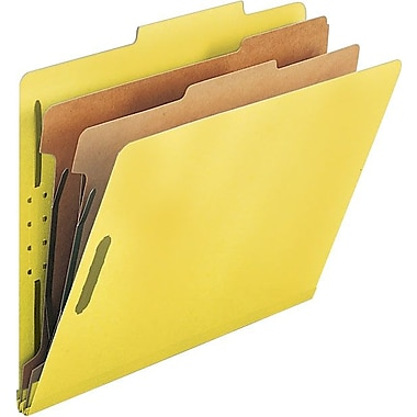 Smead® Colored Pressboard Classification Folders, Letter, 2 Partitions, Yellow, 10/Box