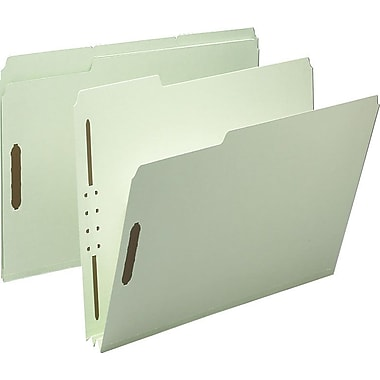 Staples® Gray/Green Pressboard Fastener Folders, Letter, 3 Tab, 2in. Expansion, 25/Box