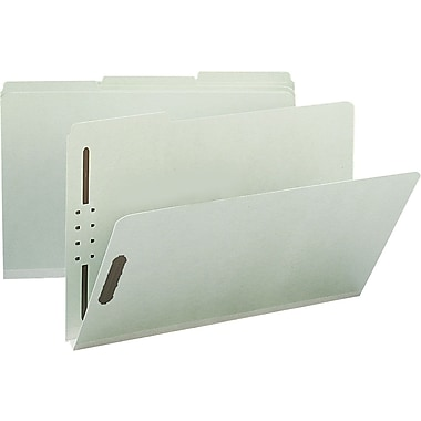 Staples® Gray/Green Pressboard Fastener Folders, Legal, 3 Tab, 1in. Expansion, 25/Box