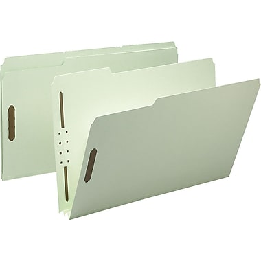 Staples® Gray/Green Pressboard Fastener Folders, Legal, 3 Tab, 2in. Expansion, 25/Box