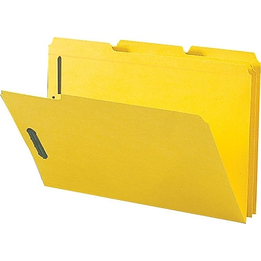 Staples® Colored Reinforced Tab Fastener Folders, Legal, Yellow, 50/Box