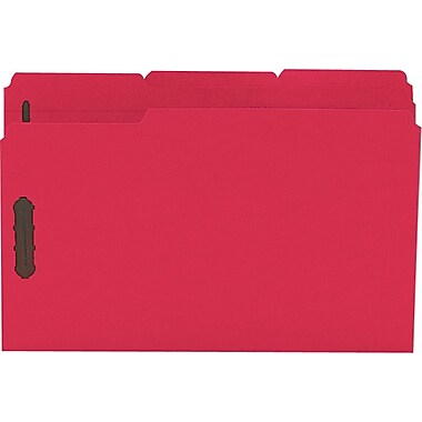 Staples® Colored Reinforced Tab Fastener Folders, Legal, Red, 50/Box