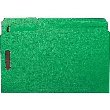 Staples® Colored Reinforced Tab Fastener Folders, Legal, Green, 50/Box
