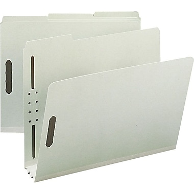 Staples® Gray/Green Pressboard Fastener Folders, Letter, 3 Tab, 3in. Expansion, 25/Box