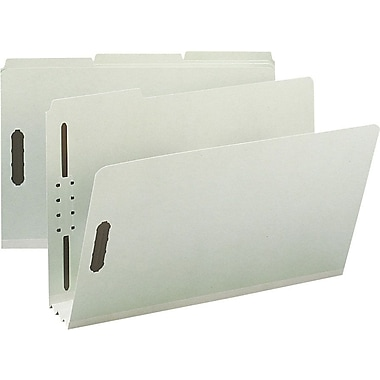 Staples® Gray/Green Pressboard Fastener Folders, Legal, 3 Tab, 3in. Expansion, 25/Box