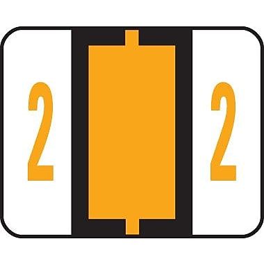 Smead® End-Tab Bar Style Numeric Color-Coded Labels, 2-Light Orange